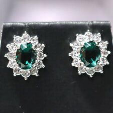 Sparkling Green Emerald Earrings 14K White Gold Plated Women Wedding Jewelry