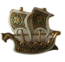Vintage Viking Damascene Ship Pin Gold Tone Boat Brooch Maltese Spain