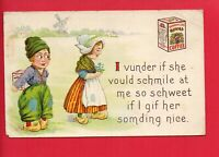 DANNEMILLER'S ROYAL COFFEE ADVERTISING DUTCH BOY & GIRL   POSTCARD