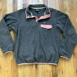 Women's Patagonia Synchilla Gray Pastel Pink Peach Snap T Fleece Bomber Jacket S