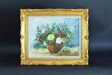 Tableau ancien Bouquet de Fleurs Roses Vase Nature morte Gouiran hst Still Life