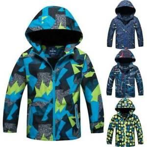 Boys Kids Windbreaker Fleece Lined Ski Jacket Coat Windproof Winter Warm Outwear