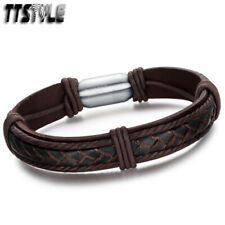 TTStyle Brown Leather 316L Stainless Steel Magnet Buckle Bracelet NEW