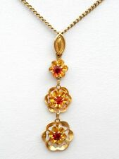 10K Yellow Gold Ruby Flower Pendant Necklace Vintage Red Gemstone Jewelry 17""