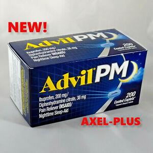 Advil PM Ibuprofen 200mg Pain Reliever Nighttime Sleep Aid 200 Coated Caplets