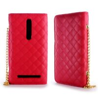 Wallet Case for Asus Zenfone 2 (5.5)  Credit Card Cover + Screen Protector Red