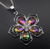 Betsey Johnson Multi-Color Crystal Rhinestone Flower Pendant Sweater Necklace