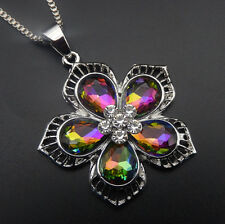 Betsey Johnson Multi-Color Crystal Rhinestone Flower Pendant Sweater Necklace