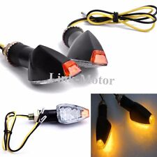 2x Black Motorcycle Turn Signal Mini Bullet Blinker Amber Indicator Lights LED