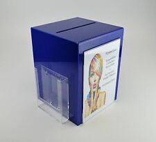 Suggestion Box / Collection Box with Leaflet + Poster Holder PDS9470A4 Dark Blue