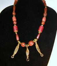 African Trade Bead Necklace w Idar Oberstein Faceted Carnelian & Ashanti Brass
