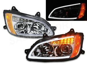 Pair Chrome Projector Headlights w/ LED Bar & Signal for 2008-2017 Kenworth T660
