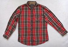 US POLO ASSN Shirt Mens Size L Red Orange Plaid Long Sleeve Casual
