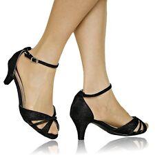 Ladies Women Party Glitter Wide Feet Low Kitten Heel Shoes Sandal Plus Size-6682