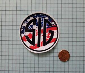 Sig Sauer Round Decal Sticker Red White & Blue American Flag Military Guns