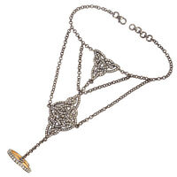 Halloween Sale 18k Gold Pave Diamond 925 Sterling Silver Designer Slave Bracelet