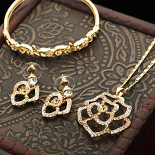 14K Gold Plated Gold Flower Made With SWAROVSKI Necklace Earrings Bracelet Set