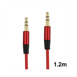 3.5mm Audio Cable - Replacement Headphones Cable - 1.2m - Gold Plated - Red - S
