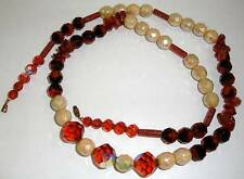 Vintage Amber & Cream Aurora Borealis Glass & Tubular Goldstone Bead Necklace
