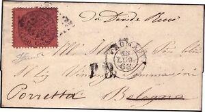 STATO PONTIFICIO 1868 - 20 c. n. 27 LUSSO x BOLOGNA, RISPEDITA € 175++