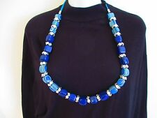 """FASHION LARGE Blue Colored Beaded NECKLACE COSTUME 34"""""""