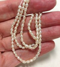 "3-4mm Natural Freshwater Pearl Rice Beads, 16"" Strand"