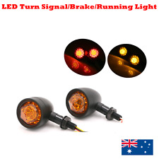 2x Black Motorcycle LED Brake Stop Turn Signal Light Harley cafe racer custom XL