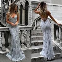 Women Sequins Mermaid Long Prom Gowns Lace Backless Cross Back Party Dress