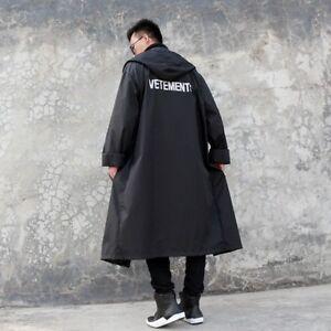 Men Hot Long Black Oversized Raincoat Vetements Waterproof Rain Jacket Hot Sale