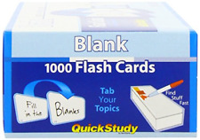 1000 Paper Blank Set Kit For Creating Flash Cards Office School Teaching Supply