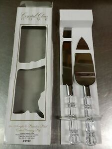 Crystal Clear Home 49R2 Acrylic & Stainless Steel 2pc Wedding Cake Serving Set
