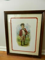 "Vintage Charles Spiegle ""Golf Boy"" Double Matted & Framed Print  19"" X 24"""