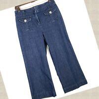 Talbots Womens Blue Dark Wash Stretch Cropped Wide Leg Denim Jeans • Size 10