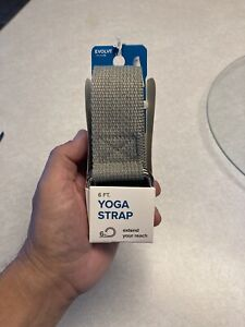 Evolve Yoga Strap Gray 6 Feet Machine Washable 100% Polyester Durable D-Ring