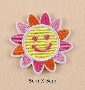 SUN EMBROIDERED FABRIC APPLIQUE SEW IT / IRON ON PATCH BADGE