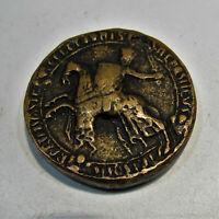 M35  Fette Bronze Medaille Siegel Abguss Spanien Kastilien 12. Jhdt. Dm47mm 115g