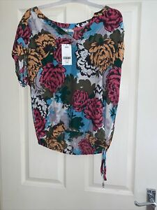 Ladies BNWT Next Size 14 Floral Waist Tie Top Blouse