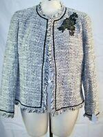 New Women's KASPER Tweed Gray Jacket Blazer applique Black flower size 16P Large