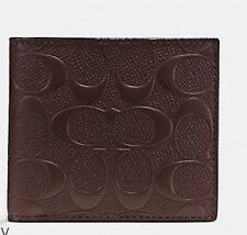 NWT COACH F75371 COMPACT ID WALLET IN SIGNATURE CROSSGRAIN LEATHER