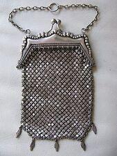 Antique Victorian Art Nouveau G Silver Bead Chatelaine Chain Mail Kilt Purse