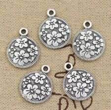 Charm Silver Round Flower Pendant Craft Connector Chandelier Earring Finding DIY