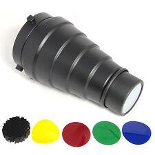 Spotvorsatz Snoot Konisch DynaSun A186 Engstrahlreflektor mit Wabe und 4 Filter