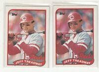 JEFF TREADWAY 1989 Topps #685 Error/Variation Light/Dark Banner Reds 2 Versions