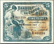 CONGO BELGE 5 FRANCS 10-4-1947 A/T P-13 circulé (rare dans cet état)