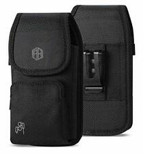 Rugged Canvas Vertical Holster Pouch Metal Clip Belt Loops TO FIT WITH OTTERBOX Defender,Commuter, LIFEPROOF, SPIGEN cover on it 6S,6 8 Agoz Carrying Case Compatible With Apple iPhone X XS 7