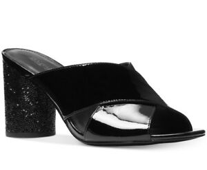 NIB Size 9 Michael Kors Black Cher Patent Leather Mid Heel Slide Mule