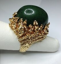 Estate 18K Yellow Gold 40 CTW Green Natural Jadeite Ring Size 6.5 40 Grams Heavy