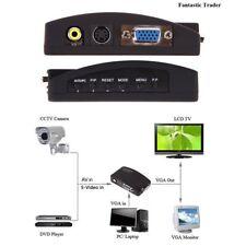 Monitor Video Adapter PC Converter HDTV CCTV DVD AV Composite RCA S-Video To VGA