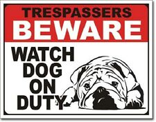 "16"" X 12 1/2"" TIN SIGN TRESPASSERS BEWARE WATCH DOG ON DUTY METAL SIGN NEW"