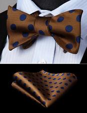 Mens Navy Blue Brown Self Bow Tie Polka Dot Woven Silk Pocket Square Set BD201ZS